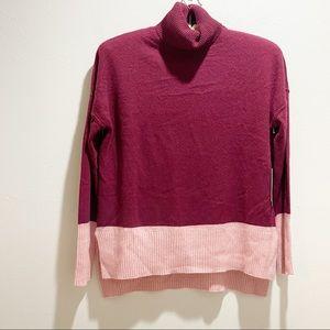 MAX STUDIO CASHMERE Colorblock Turtleneck Sweater